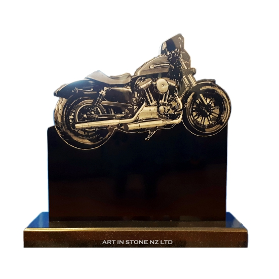 A Black Granite Motorbike Headstone