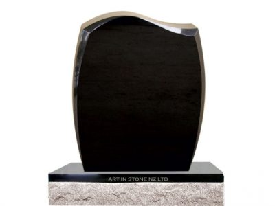 large black granite Euro Headstone set