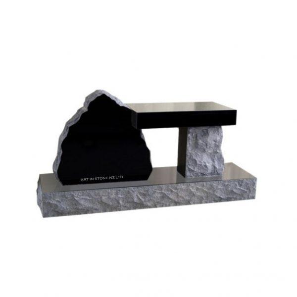 Black Granite Boulder with bench-seat headstone